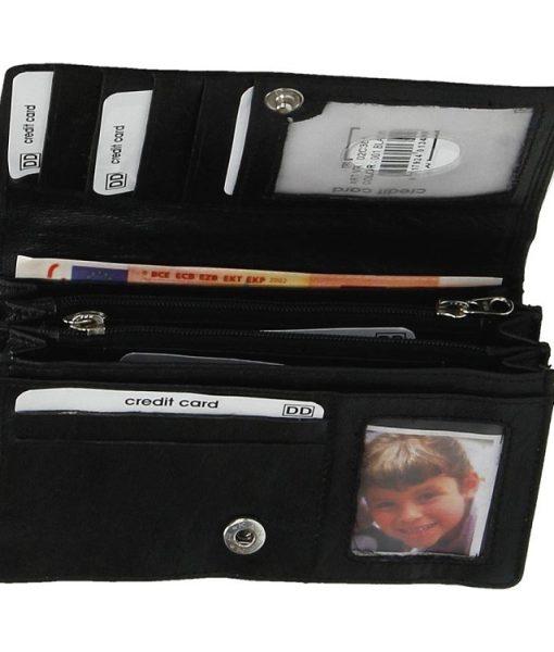 Dames harmonica portemonnee zwart 05