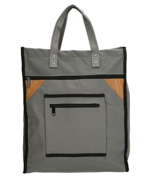 Boodschappentas met canvas handvatten grijs