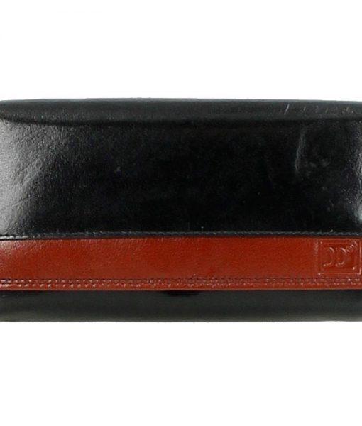 Dames huishoud knip portemonee zwart bruin04