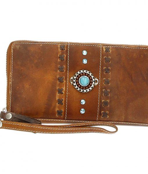 Micmacbags portemonnee tribal cognac