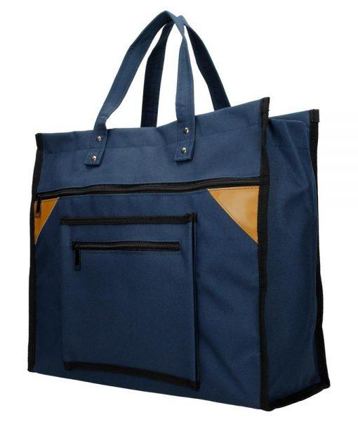 Boodschappentas met canvas handvatten blauw breed
