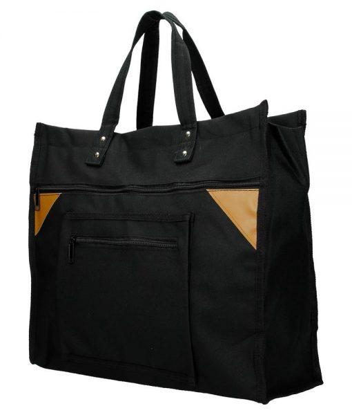 Boodschappentas met canvas handvatten zwart breed