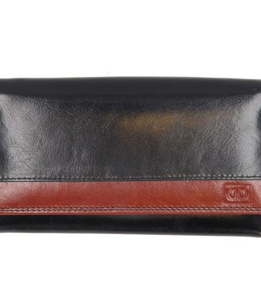 Dames huishoud knip portemonee zwart bruin