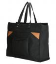 Boodschappentas met canvas handvatten zwart breed 01