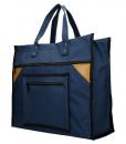 Boodschappentas met canvas handvatten blauw breed 01