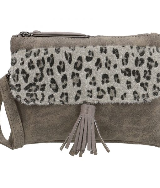 Dames Crossbody Schoudertasje Panter Print Grijs