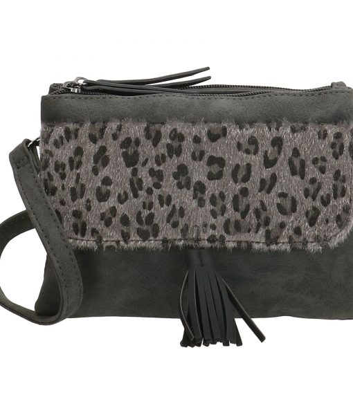 Dames Crossbody Schoudertasje Panter Print Zwart