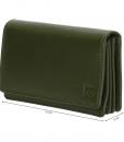 Dames portemonnee harmonica echt Leer Olijf Groen 01