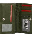 Dames portemonnee harmonica echt Leer Olijf Groen 02