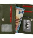 Dames portemonnee harmonica echt Leer Olijf Groen 03