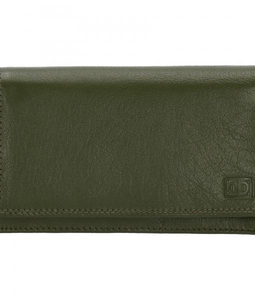 Dames portemonnee harmonica echt Leer Olijf Groen
