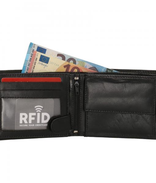 Heren portemonnee zwart Bilfold(laag model) RFID