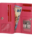 Dames portemonnee harmonica echt Leer Roze (pink) 02