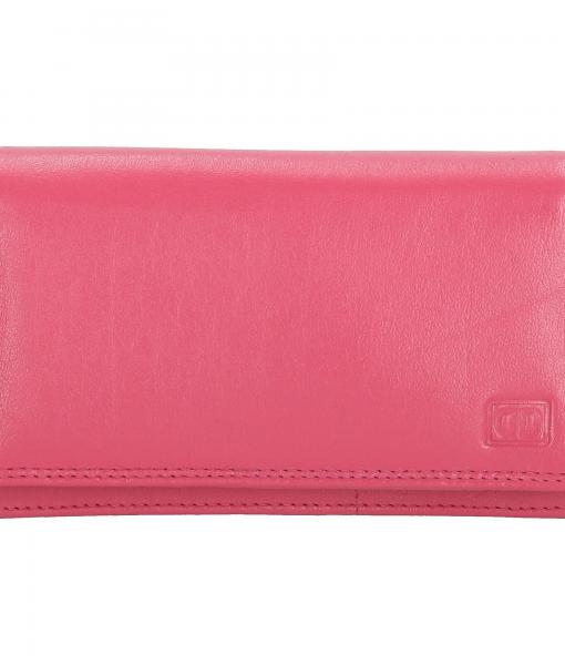 Dames portemonnee harmonica echt Leer Roze (pink)